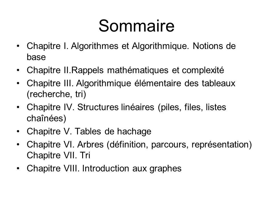 Sommaire Chapitre I. Algorithmes et Algorithmique. Notions de base Chapitre II.Rappels mathématiques et complexité Chapitre III. Algorithmique élément