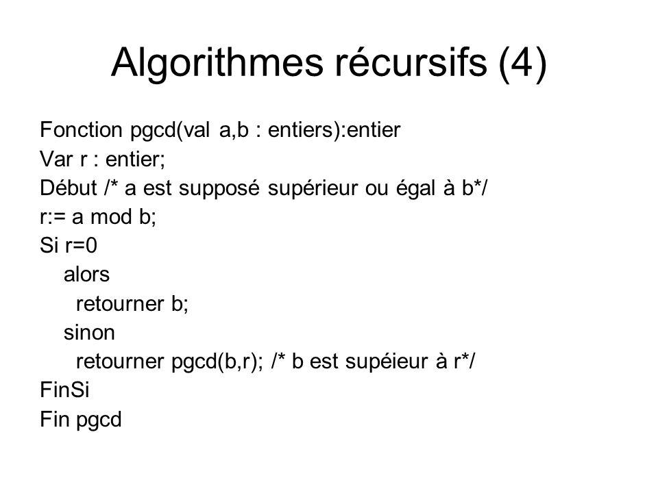 Algorithmes récursifs (4) Fonction pgcd(val a,b : entiers):entier Var r : entier; Début /* a est supposé supérieur ou égal à b*/ r:= a mod b; Si r=0 a