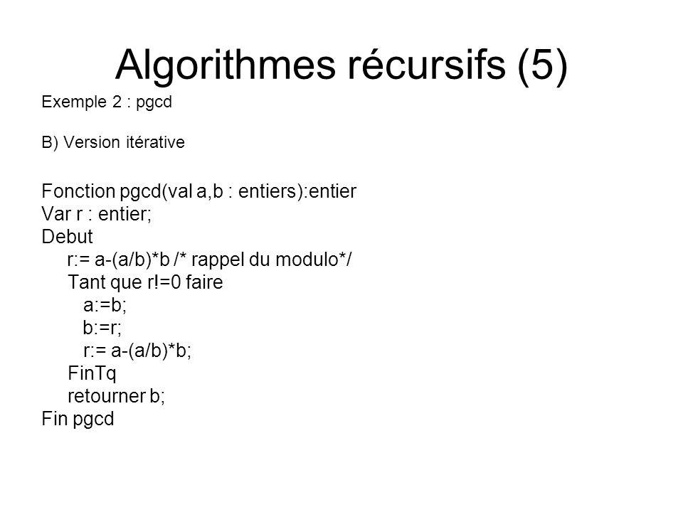 Algorithmes récursifs (5) Exemple 2 : pgcd B) Version itérative Fonction pgcd(val a,b : entiers):entier Var r : entier; Debut r:= a-(a/b)*b /* rappel