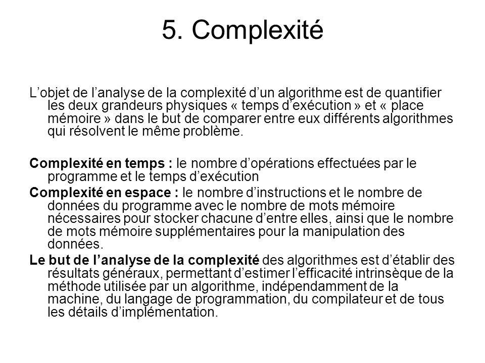5. Complexité Lobjet de lanalyse de la complexité dun algorithme est de quantifier les deux grandeurs physiques « temps dexécution » et « place mémoir