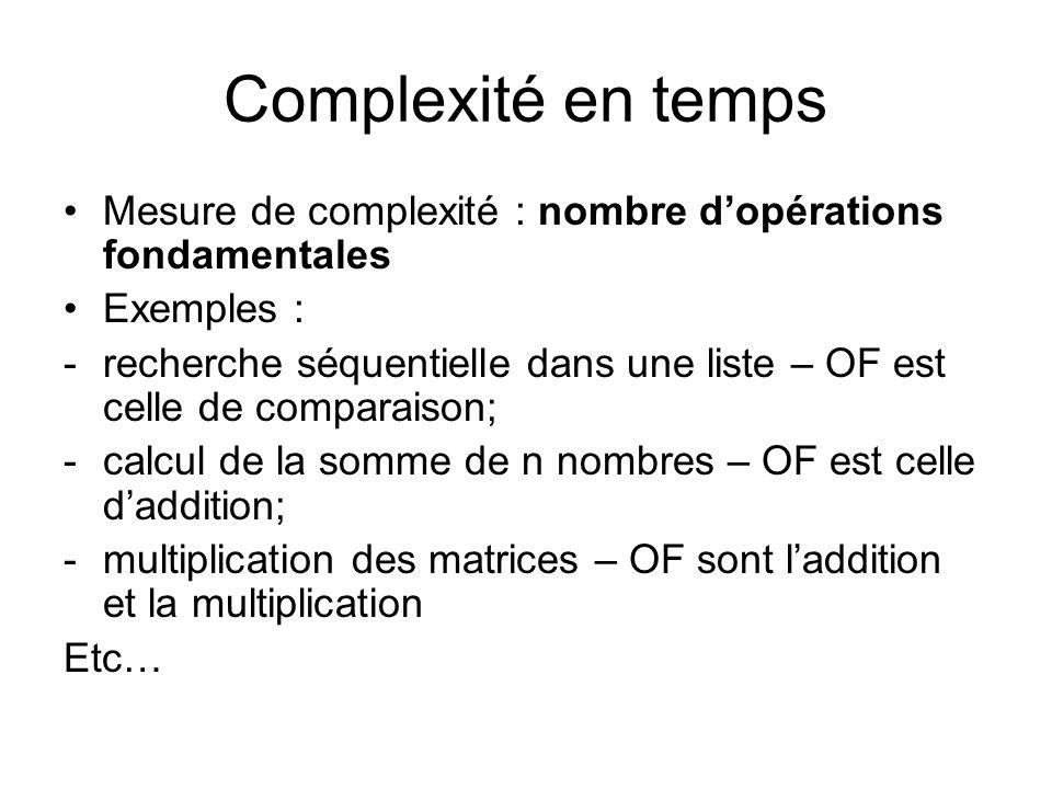 Complexité en temps Mesure de complexité : nombre dopérations fondamentales Exemples : -recherche séquentielle dans une liste – OF est celle de compar