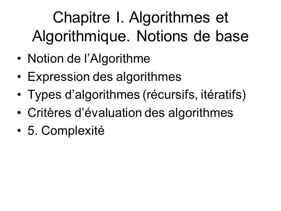 Chapitre I. Algorithmes et Algorithmique. Notions de base Notion de lAlgorithme Expression des algorithmes Types dalgorithmes (récursifs, itératifs) C