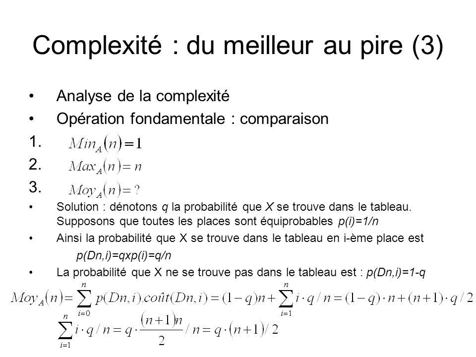 Complexité : du meilleur au pire (3) Analyse de la complexité Opération fondamentale : comparaison 1. 2. 3. Solution : dénotons q la probabilité que X