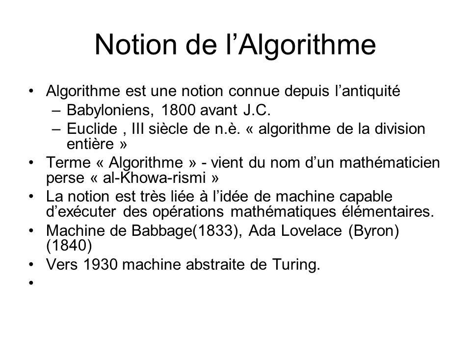 Notion de lAlgorithme Algorithme est une notion connue depuis lantiquité –Babyloniens, 1800 avant J.C. –Euclide, III siècle de n.è. « algorithme de la