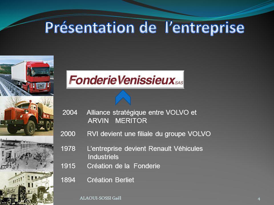 1894 Création Berliet 1915 Création de la Fonderie 1978 Lentreprise devient Renault Véhicules Industriels 2000 RVI devient une filiale du groupe VOLVO 2004 Alliance stratégique entre VOLVO et ARVIN MERITOR 4