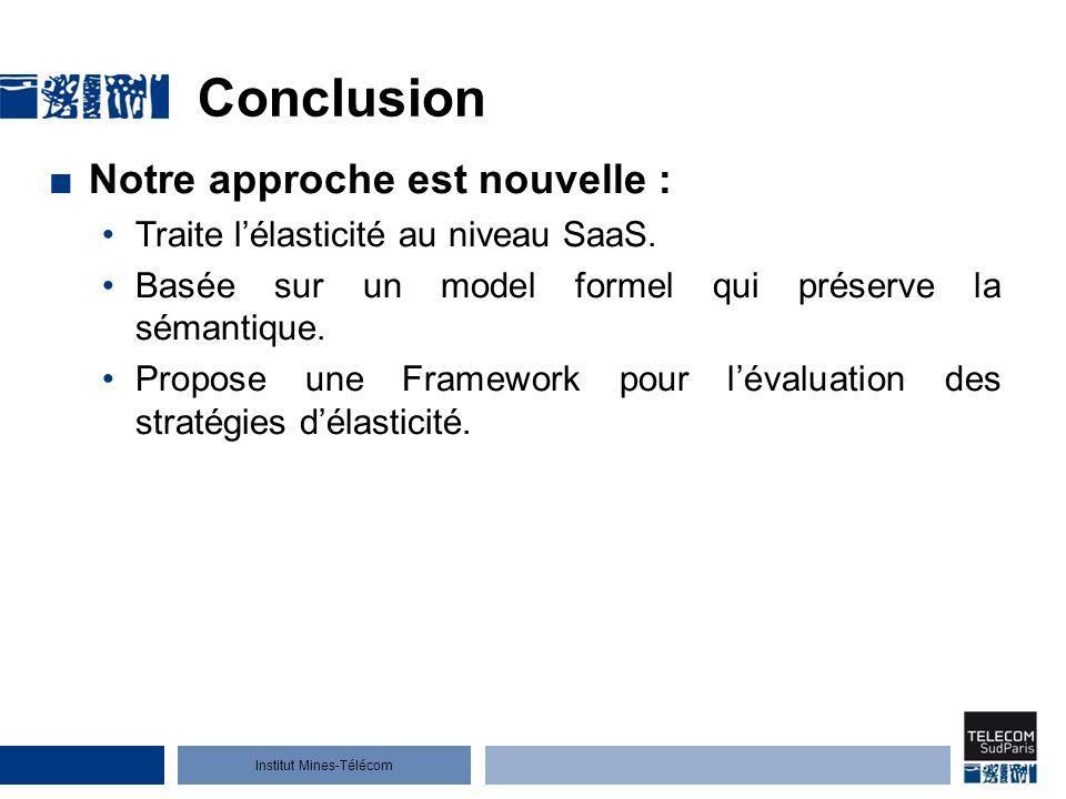 Institut Mines-Télécom Conclusion Notre approche est nouvelle : Traite lélasticité au niveau SaaS.