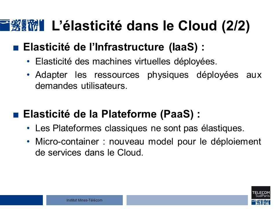 Institut Mines-Télécom Lélasticité dans le Cloud (2/2) Elasticité de lInfrastructure (IaaS) : Elasticité des machines virtuelles déployées.