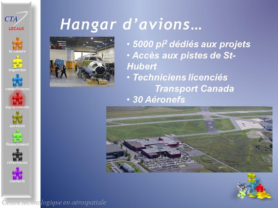 5000 pi 2 dédiés aux projets Accès aux pistes de St- Hubert Techniciens licenciés Transport Canada 30 Aéronefs Assemblage géolocalisé Centre technolog