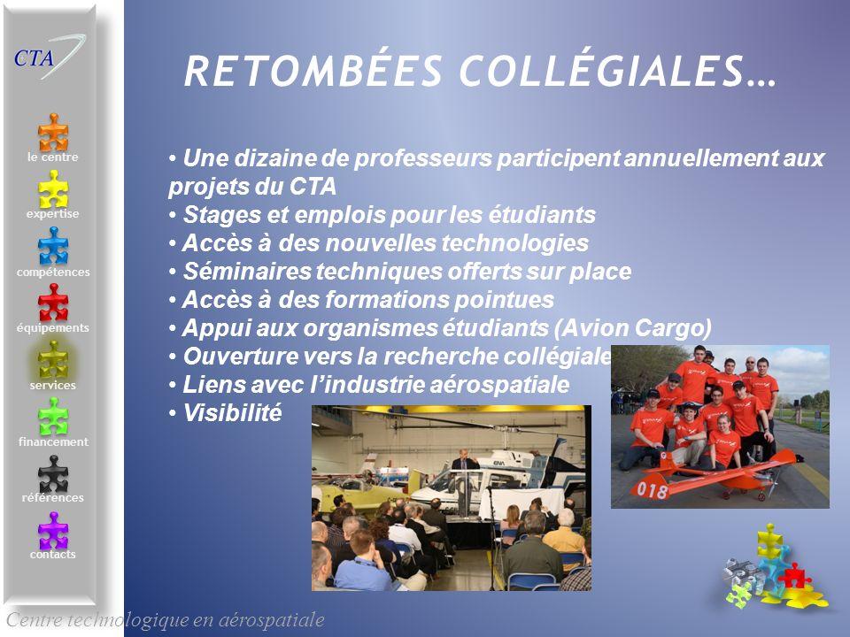 Centre technologique en aérospatiale le centre contacts services compétences équipements références expertise financement RETOMBÉES COLLÉGIALES… Une d