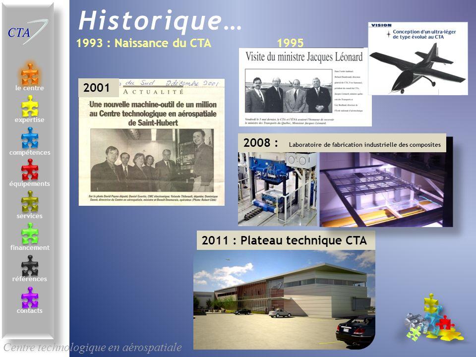 le centre contacts services compétences équipements références expertise financement Historique… 1993 : Naissance du CTA1995 2001 2011 : Plateau techn