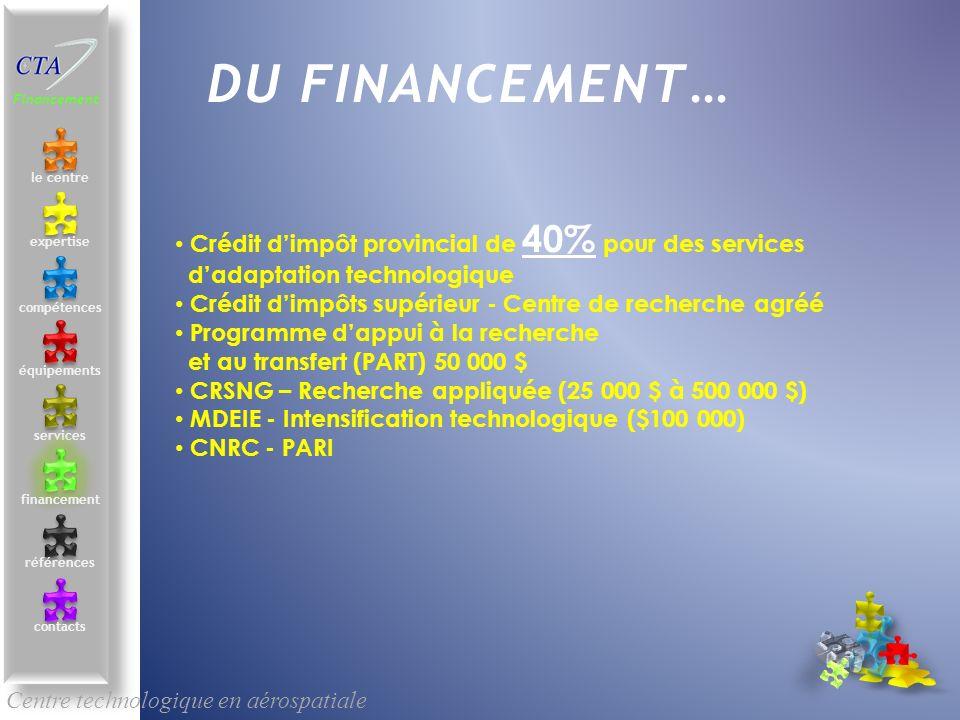 Centre technologique en aérospatiale le centre contacts services compétences équipements références expertise financement DU FINANCEMENT… Financement