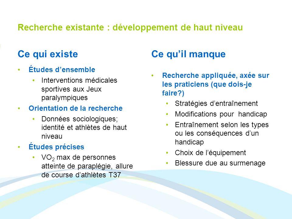 Recherche existante : développement de haut niveau Ce qui existe Études densemble Interventions médicales sportives aux Jeux paralympiques Orientation