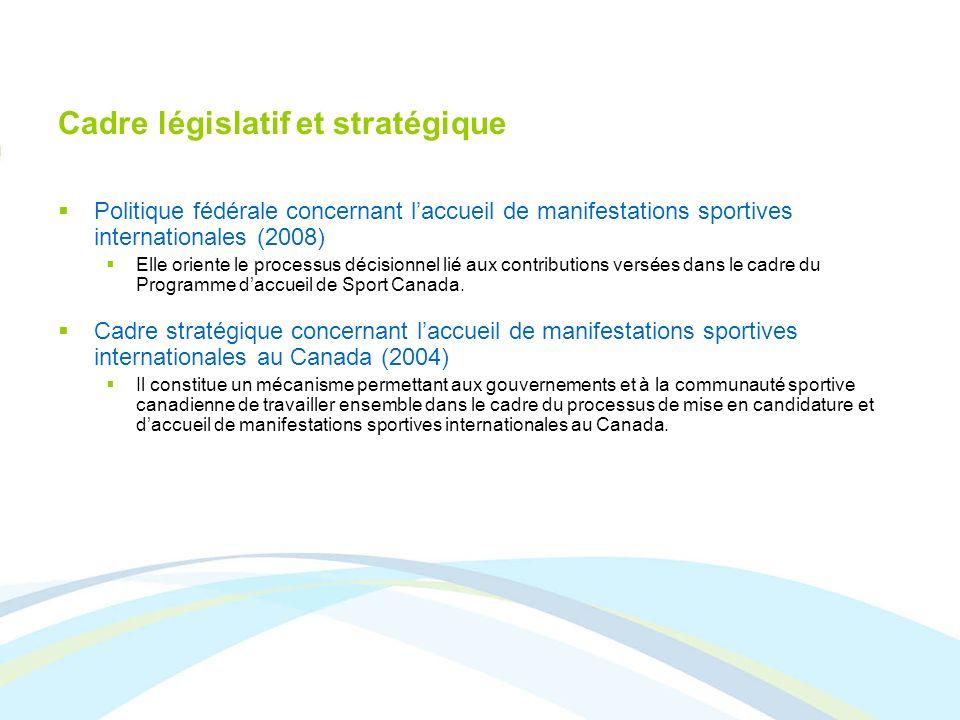 Cadre législatif et stratégique Politique fédérale concernant laccueil de manifestations sportives internationales (2008) Elle oriente le processus dé