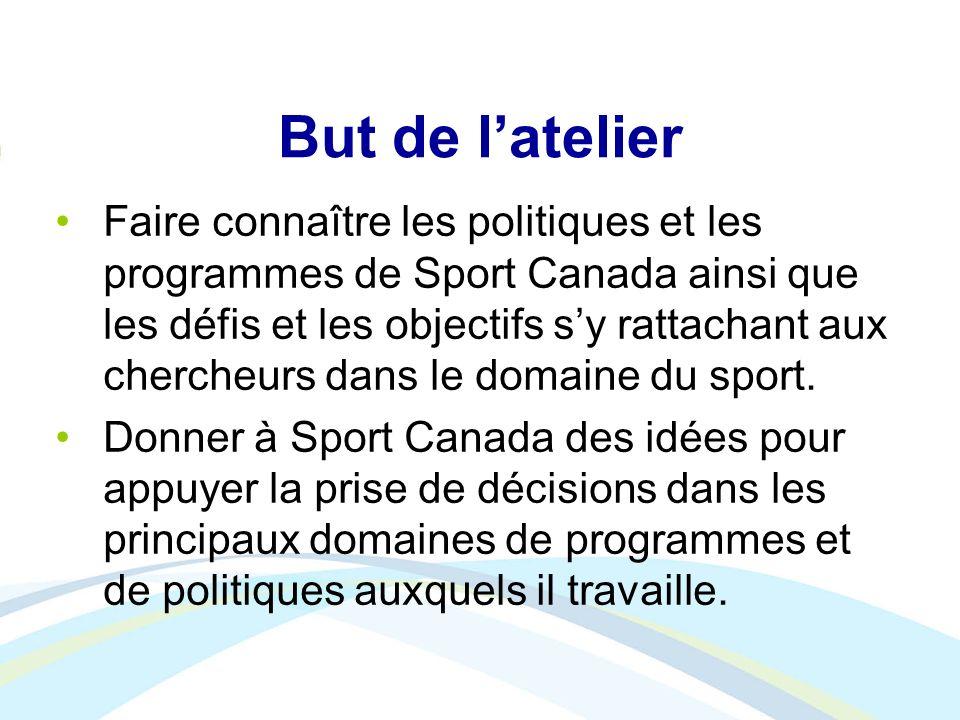 But de latelier Faire connaître les politiques et les programmes de Sport Canada ainsi que les défis et les objectifs sy rattachant aux chercheurs dan