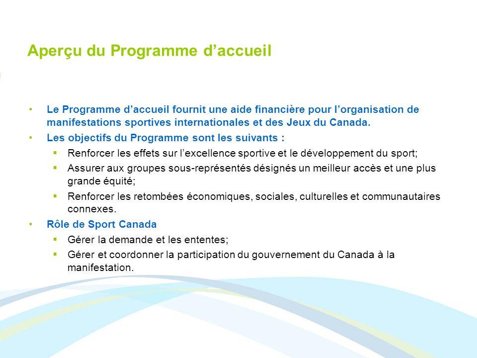 Aperçu du Programme daccueil Le Programme daccueil fournit une aide financière pour lorganisation de manifestations sportives internationales et des J