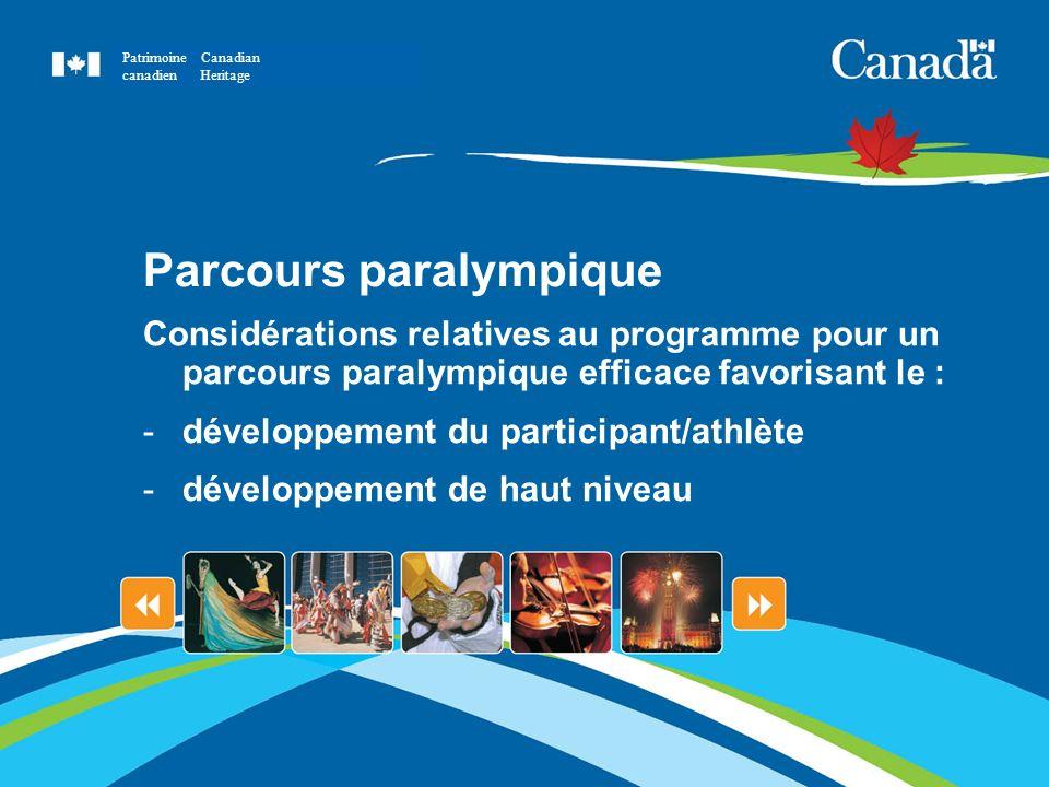 Parcours paralympique Considérations relatives au programme pour un parcours paralympique efficace favorisant le : -développement du participant/athlè