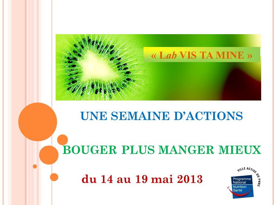 UNE SEMAINE DACTIONS BOUGER PLUS MANGER MIEUX du 14 au 19 mai 2013 « Lab VIS TA MINE »