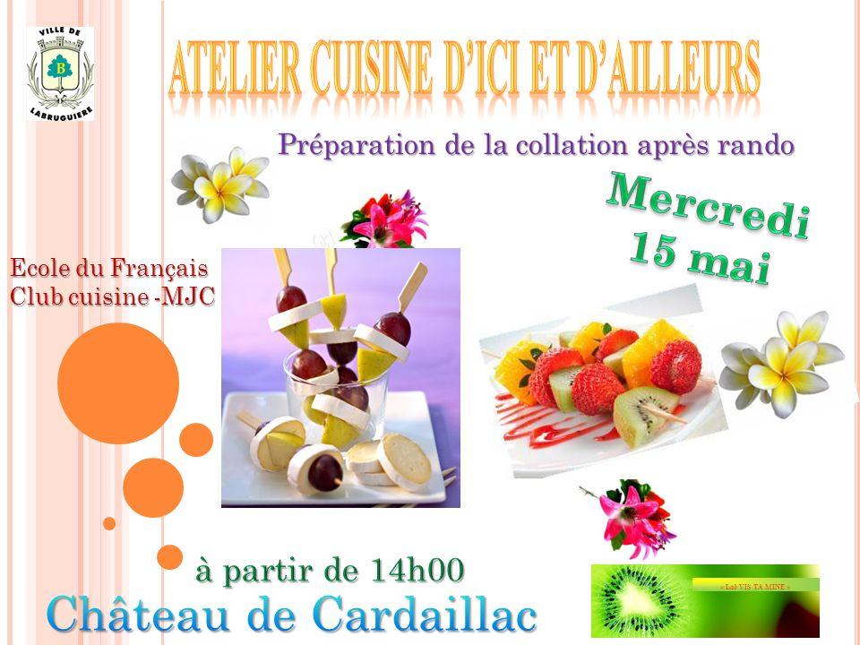 Préparation de la collation après rando Ecole du Français Club cuisine -MJC