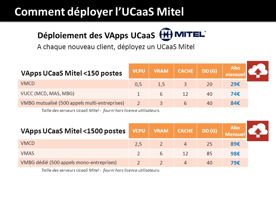 VCPUVRAMCACHEDD (G) Abo mensuel VMCD 0,51,5320 29 VUCC (MCD, MAS, MBG) 161240 74 VMBG mutualisé (500 appels multi-entreprises) 23640 84 Taille des ser