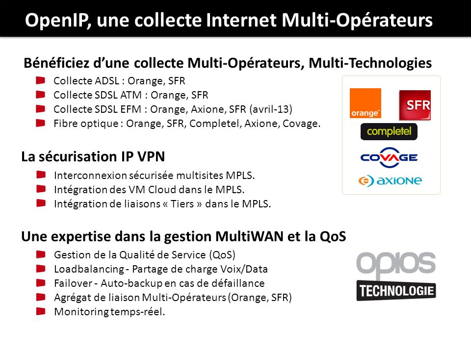 Collecte ADSL : Orange, SFR Collecte SDSL ATM : Orange, SFR Collecte SDSL EFM : Orange, Axione, SFR (avril-13) Fibre optique : Orange, SFR, Completel,
