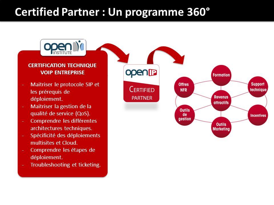 Certified Partner : Un programme 360° CERTIFICATION TECHNIQUE VOIP ENTREPRISE -Maitriser le protocole SIP et les prérequis de déploiement. -Maitriser