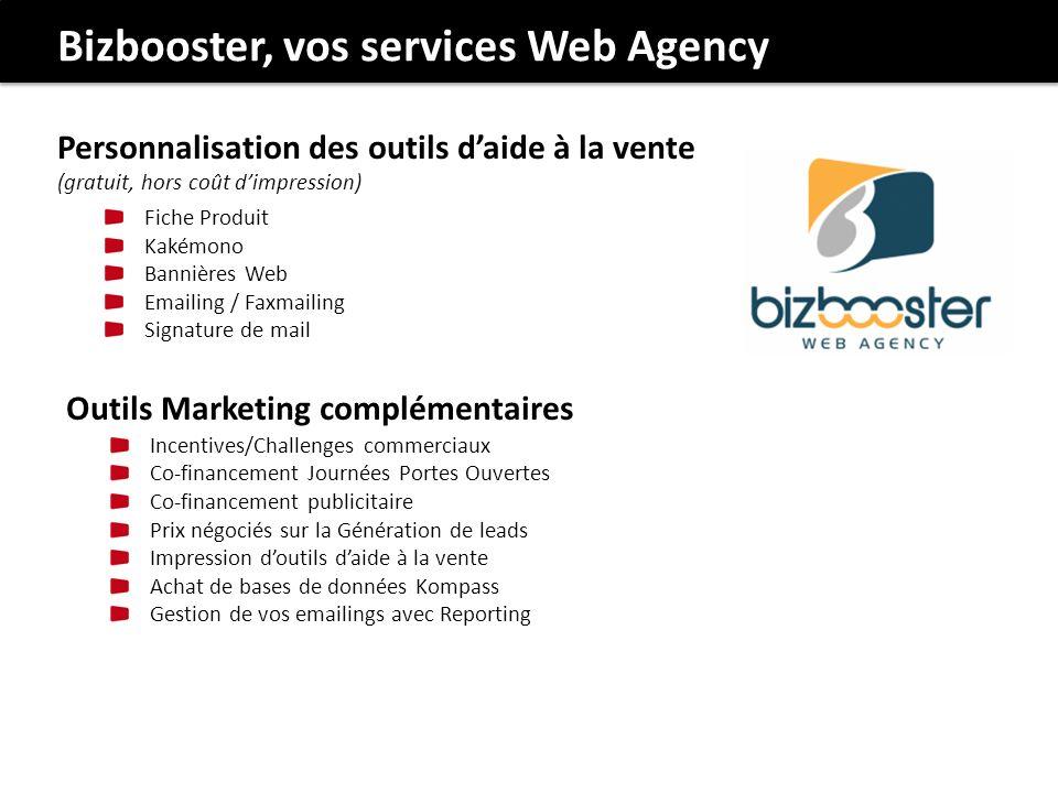 Bizbooster, vos services Web Agency Outils Marketing complémentaires Incentives/Challenges commerciaux Co-financement Journées Portes Ouvertes Co-fina