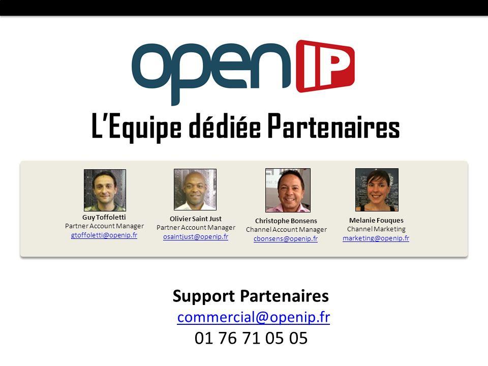 LEquipe dédiée Partenaires Olivier Saint Just Partner Account Manager osaintjust@openip.fr Melanie Fouques Channel Marketing marketing@openip.fr Suppo