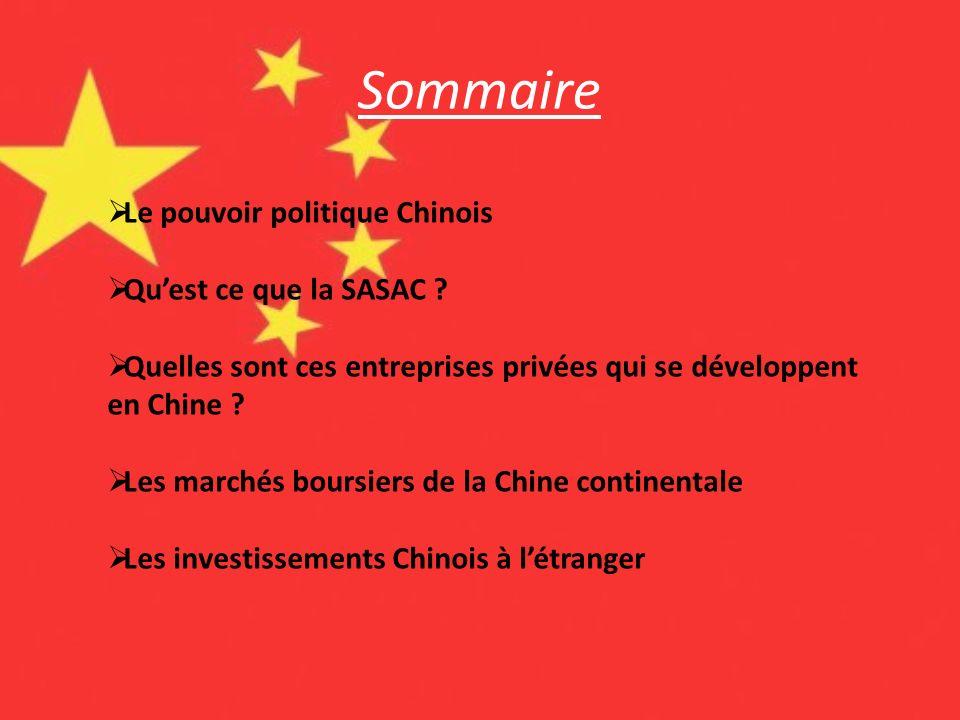Sommaire Le pouvoir politique Chinois Quest ce que la SASAC ? Quelles sont ces entreprises privées qui se développent en Chine ? Les marchés boursiers