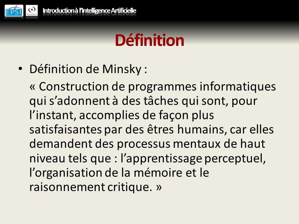 Définition Définition de Minsky : « Construction de programmes informatiques qui sadonnent à des tâches qui sont, pour linstant, accomplies de façon p