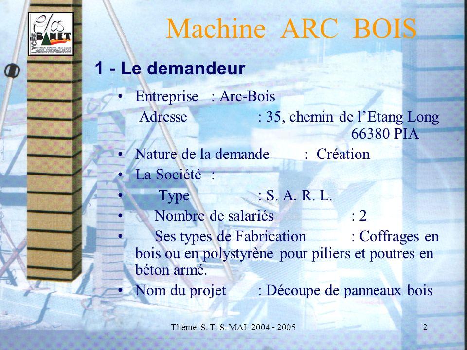Thème S. T. S. MAI 2004 - 20053 Machine ARC BOIS