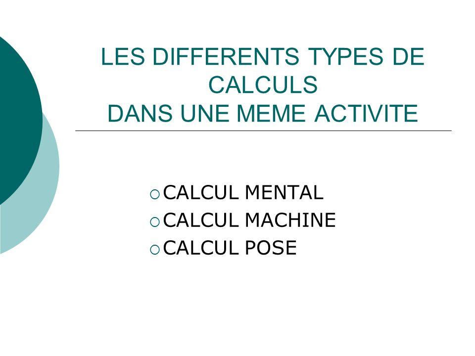 LES DIFFERENTS TYPES DE CALCULS DANS UNE MEME ACTIVITE CALCUL MENTAL CALCUL MACHINE CALCUL POSE
