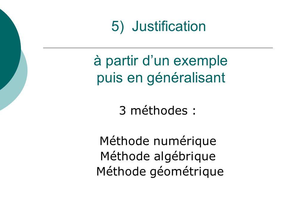 5) Justification à partir dun exemple puis en généralisant 3 méthodes : Méthode numérique Méthode algébrique Méthode géométrique