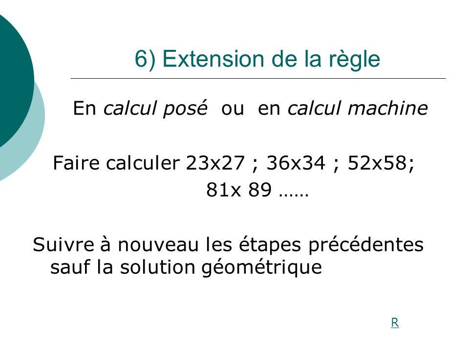 6) Extension de la règle En calcul posé ou en calcul machine Faire calculer 23x27 ; 36x34 ; 52x58; 81x 89 …… Suivre à nouveau les étapes précédentes s
