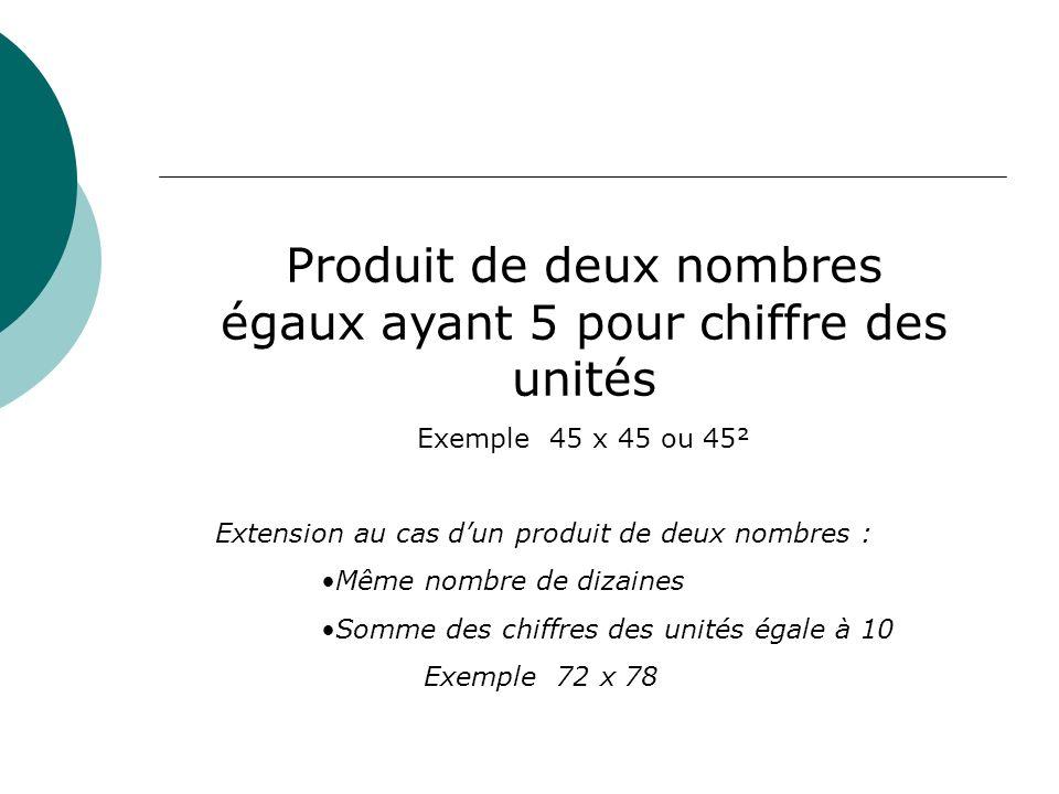 Produit de deux nombres égaux ayant 5 pour chiffre des unités Exemple 45 x 45 ou 45² Extension au cas dun produit de deux nombres : Même nombre de diz