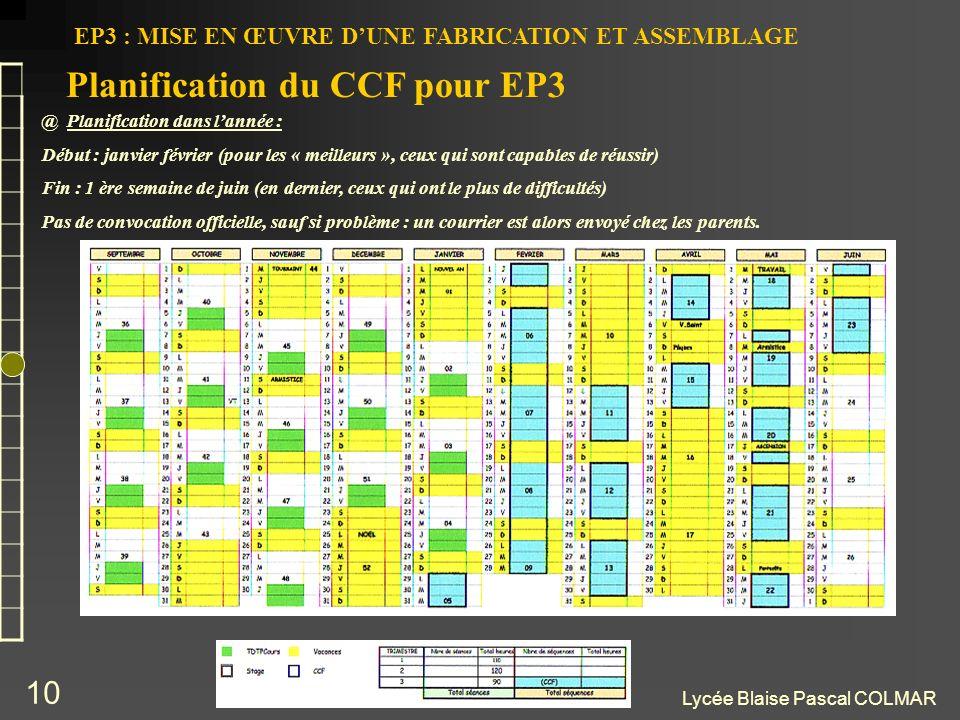 Lycée Blaise Pascal COLMAR 10 EP3 : MISE EN ŒUVRE DUNE FABRICATION ET ASSEMBLAGE @ Planification dans lannée : Début : janvier février (pour les « mei