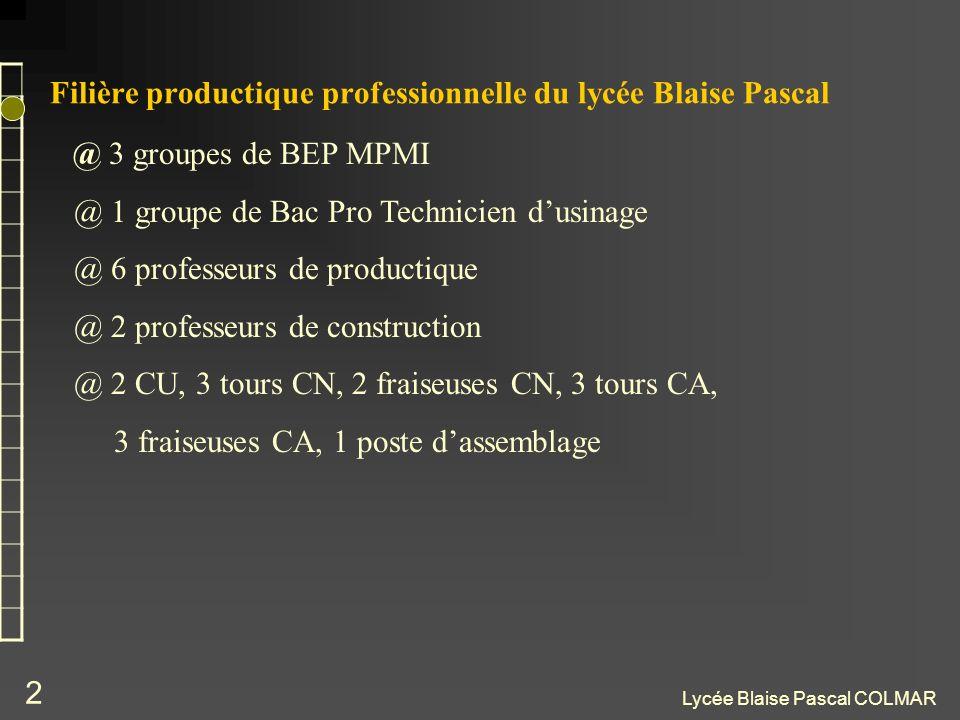 Lycée Blaise Pascal COLMAR 2 Filière productique professionnelle du lycée Blaise Pascal @ 3 groupes de BEP MPMI @ 1 groupe de Bac Pro Technicien dusin
