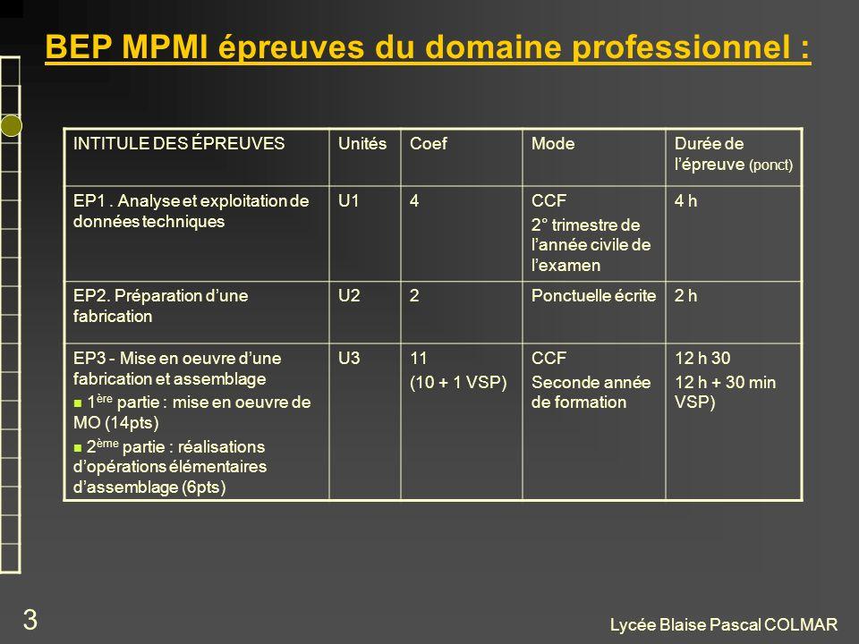 Lycée Blaise Pascal COLMAR 3 BEP MPMI épreuves du domaine professionnel : INTITULE DES ÉPREUVESUnitésCoefModeDurée de lépreuve (ponct) EP1. Analyse et