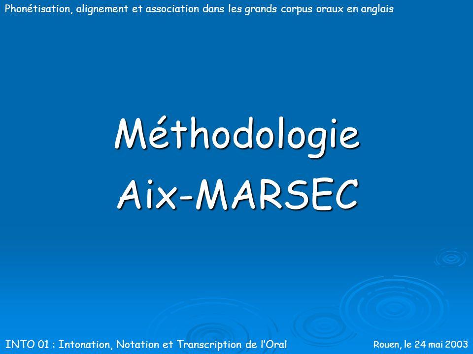 Rouen, le 24 mai 2003 Phonétisation, alignement et association dans les grands corpus oraux en anglais Aix-MARSEC : les origines Pré-traitements: préd