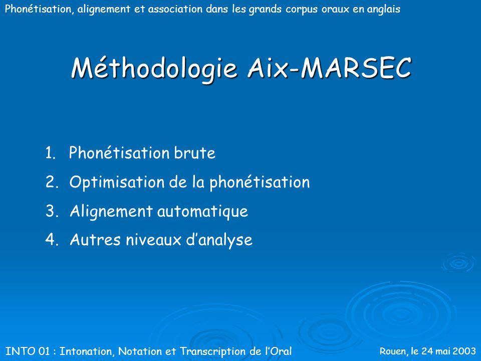 Rouen, le 24 mai 2003 Phonétisation, alignement et association dans les grands corpus oraux en anglaisMéthodologieAix-MARSEC INTO 01 : Intonation, Not