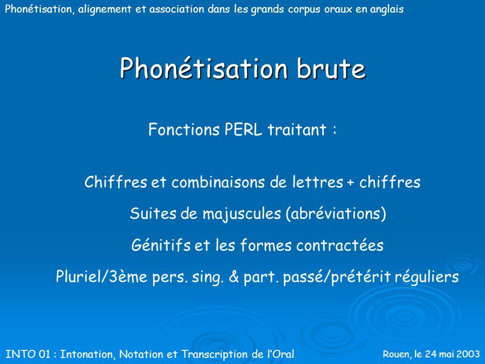 Rouen, le 24 mai 2003 Phonétisation, alignement et association dans les grands corpus oraux en anglais Phonétisation brute Méthode par dictionnaires F
