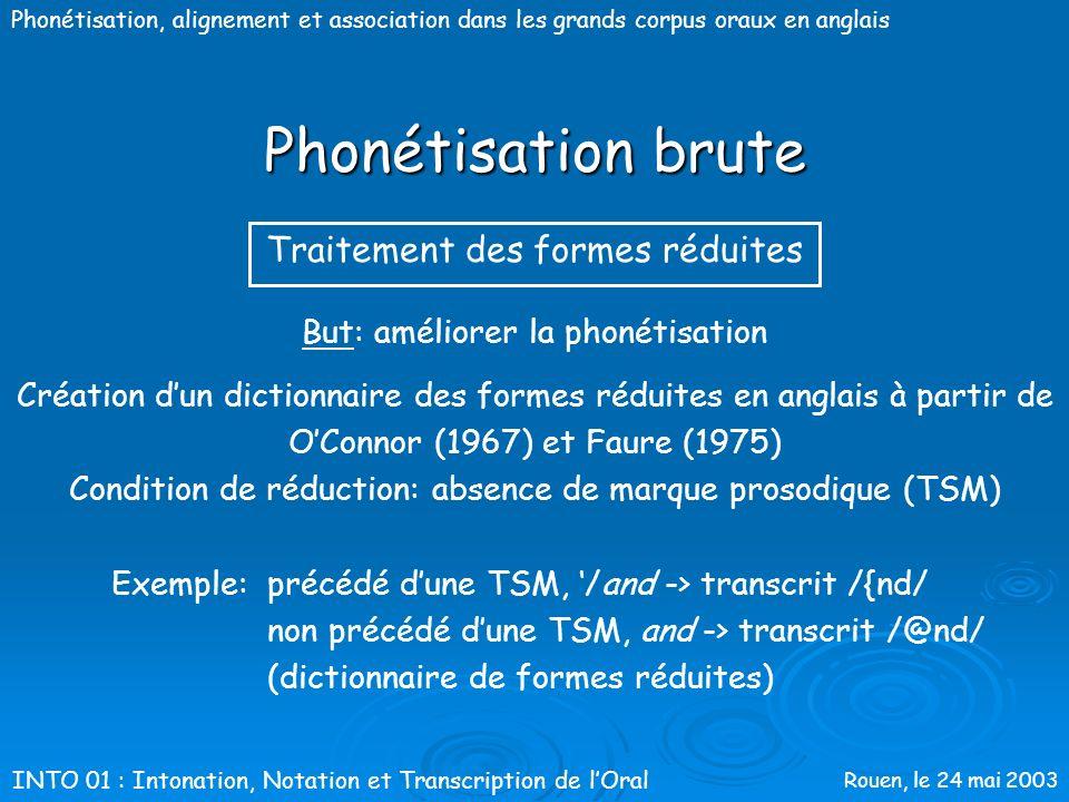 Rouen, le 24 mai 2003 Phonétisation, alignement et association dans les grands corpus oraux en anglais Phonétisation brute Utilisation de quatre dicti