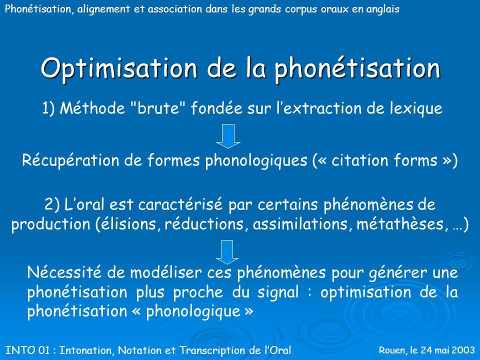 Rouen, le 24 mai 2003 Phonétisation, alignement et association dans les grands corpus oraux en anglais Méthodologie Aix-MARSEC : Optimisation de la ph