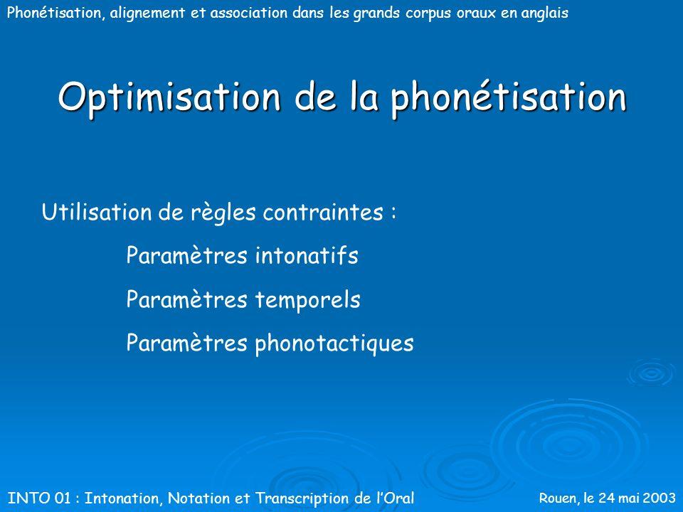 Rouen, le 24 mai 2003 Phonétisation, alignement et association dans les grands corpus oraux en anglais Optimisation de la phonétisation 1) Méthode