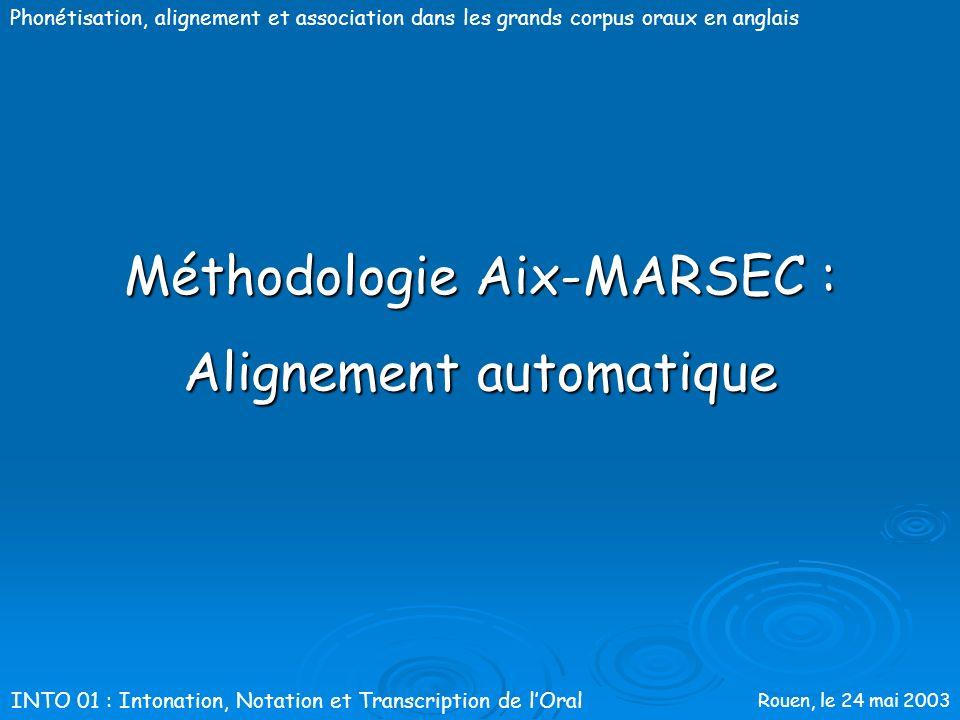 Rouen, le 24 mai 2003 Phonétisation, alignement et association dans les grands corpus oraux en anglais Optimisation de la phonétisation Évaluation des