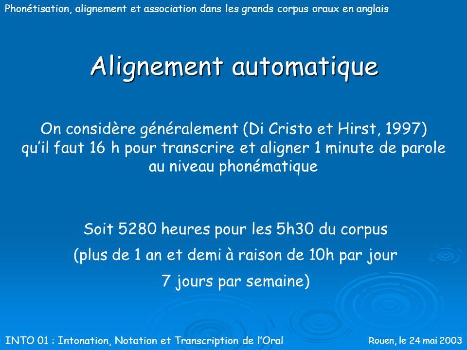 Rouen, le 24 mai 2003 Phonétisation, alignement et association dans les grands corpus oraux en anglais Méthodologie Aix-MARSEC : Alignement automatiqu
