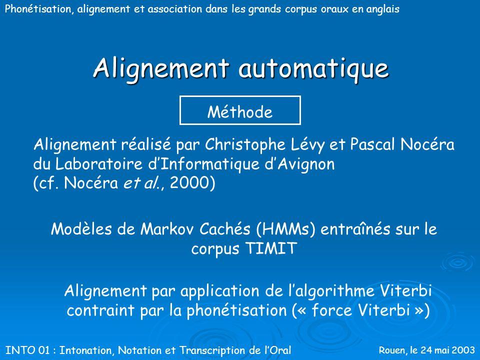 Rouen, le 24 mai 2003 Phonétisation, alignement et association dans les grands corpus oraux en anglais Alignement automatique On considère généralemen