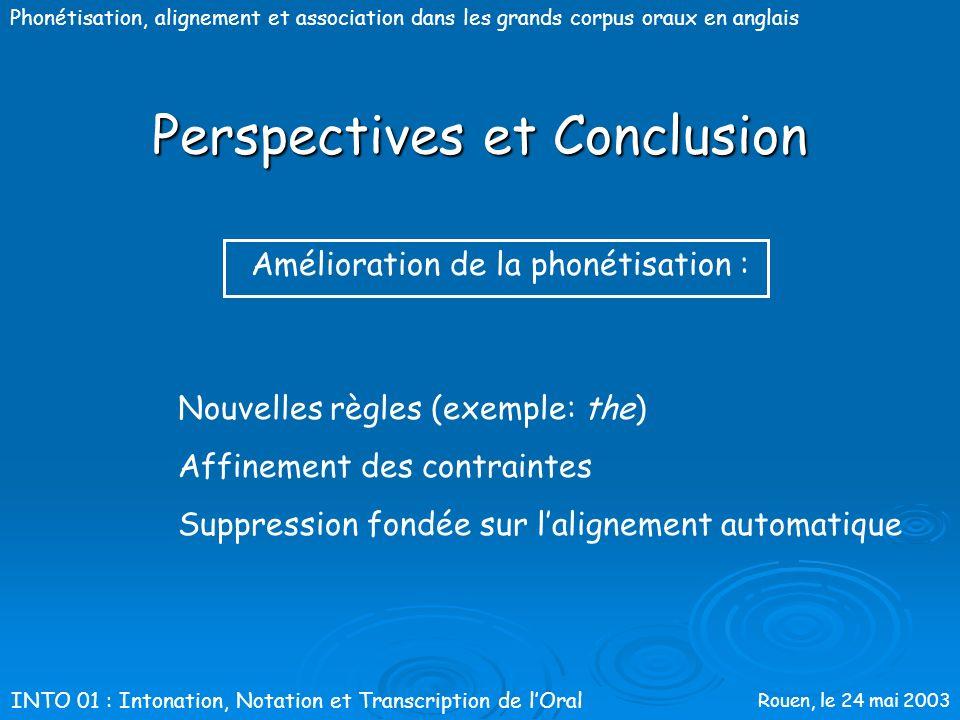 Rouen, le 24 mai 2003 Phonétisation, alignement et association dans les grands corpus oraux en anglaisPerspectives&conclusion INTO 01 : Intonation, No