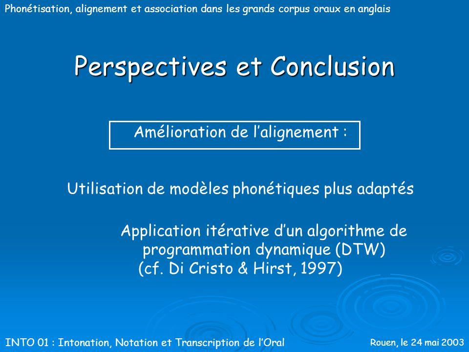 Rouen, le 24 mai 2003 Phonétisation, alignement et association dans les grands corpus oraux en anglais Perspectives et Conclusion Amélioration de la p