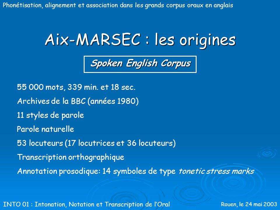 Rouen, le 24 mai 2003 Phonétisation, alignement et association dans les grands corpus oraux en anglais Aix-MARSEC : les origines SEC MARSEC Spoken Eng