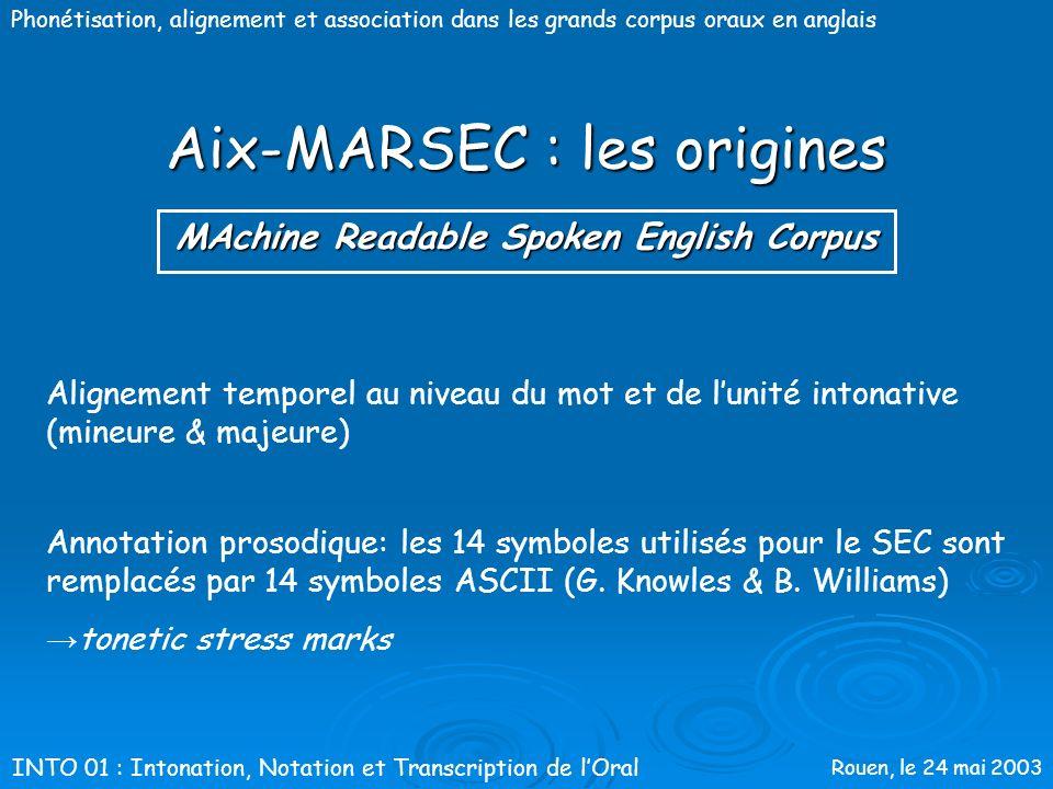 Rouen, le 24 mai 2003 Phonétisation, alignement et association dans les grands corpus oraux en anglais Aix-MARSEC : les origines 55 000 mots, 339 min.